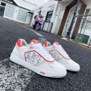 Dior 3SN272 B27 Low Top Sneaker White and Red Smooth Calfskin - Voguebags