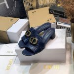 Dior 81177 Diro 30 Montaigne Flat Thong Sandals Calfskin Navy Blue - luxibagsmall