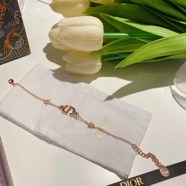 Dior CD Navy Bracelet Rose Gold-Finish Metal and White Crystals 20207 - luxibagsmall
