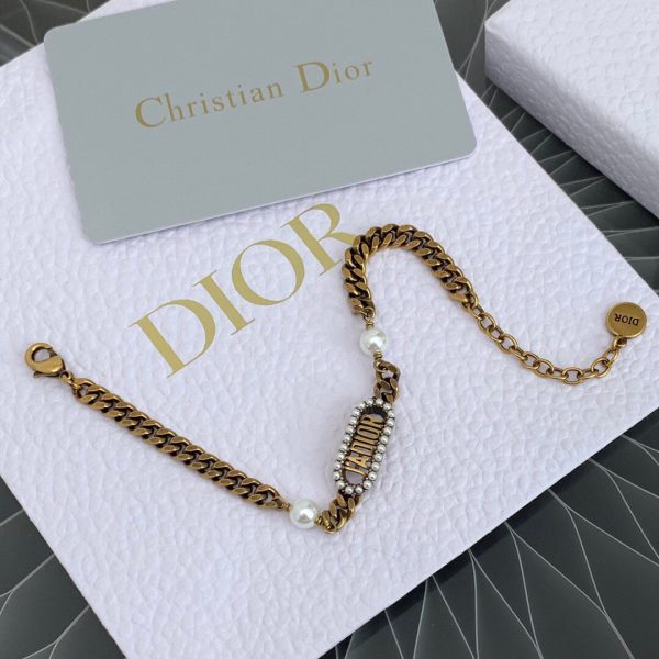 Dior J'ADIOR Bracelet Antique Gold-Finish Metal and White Resin Pearls 20206 - luxibagsmall