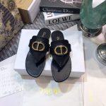 Dior KCQ386 Diro 30 Montaigne Flat Thong Sandals Black Calfskin - luxibagsmall