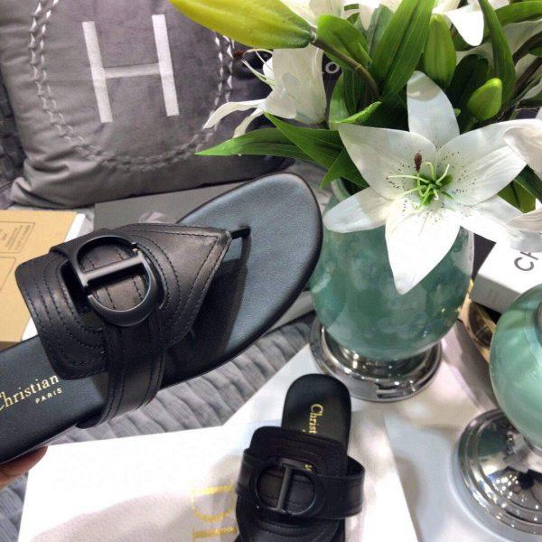 Dior KCQ386 Diro 30 Montaigne Flat Thong Sandals Calfskin Black Hardware Logo - luxibagsmall