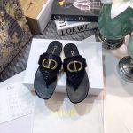 Dior KCQ386 Diro 30 Montaigne Flat Thong Sandals Calfskin Black Gold - luxibagsmall