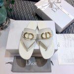 Dior KCQ386 Diro 30 Montaigne Flat Thong Sandals Calfskin White - luxibagsmall