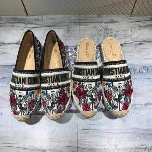 Dior KDB585 Dior Granville Espadrille Shoes Black Red - luxibagsmall