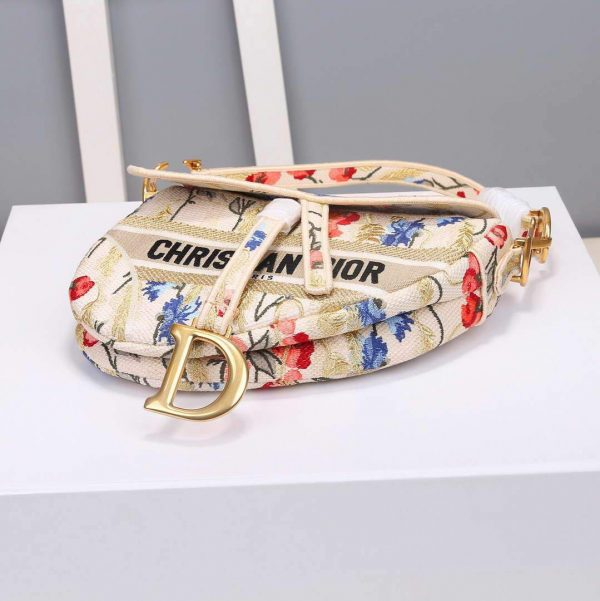 Dior M0446 Dior Multicolor Flowers Embroidery Saddle Bag - luxibagsmall