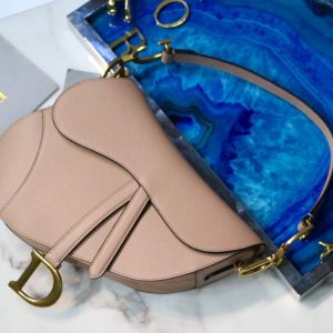 Dior M0446 Dior Saddle Bag M0447 Apricot Grained Calfskin - luxibagsmall