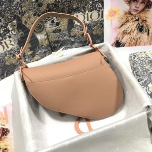 Dior M0446 Dior Saddle Bag M0447 Apricot Grained Calfskin with Apricot Hardware - luxibagsmall