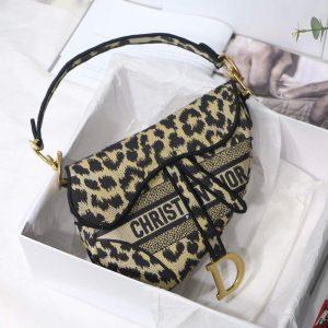 Dior M0446 Dior Saddle Bag Beige Multicolor Mizza Embroidery - luxibagsmall