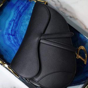 Dior M0446 Dior Saddle Bag M0447 Black Grained Calfskin - luxibagsmall
