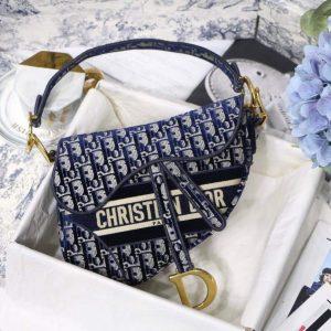 Dior M0446 Dior Saddle Bag Blue Dior Oblique Embroidery - luxibagsmall