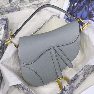 Dior M0446 Dior Saddle Bag M0447 Grey Grained Calfskin - luxibagsmall
