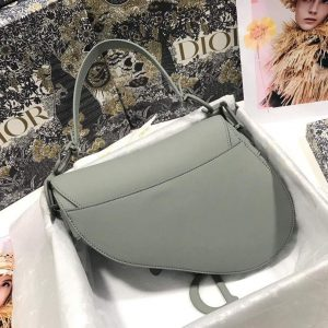 Dior M0446 Dior Saddle Bag M0447 Grey Grained Calfskin with Gray Hardware - luxibagsmall