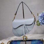 Dior M0446 Dior Saddle Bag M0447 Light Blue Grained Calfskin - luxibagsmall