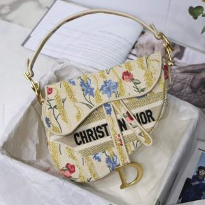 Dior M0446 Dior Saddle Bag Multicolor Flowers Embroidery With Gold - luxibagsmall