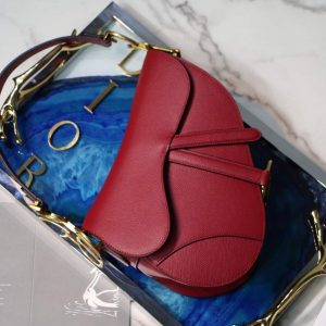Dior M0446 Dior Saddle Bag M0447 Red Grained Calfskin - luxibagsmall