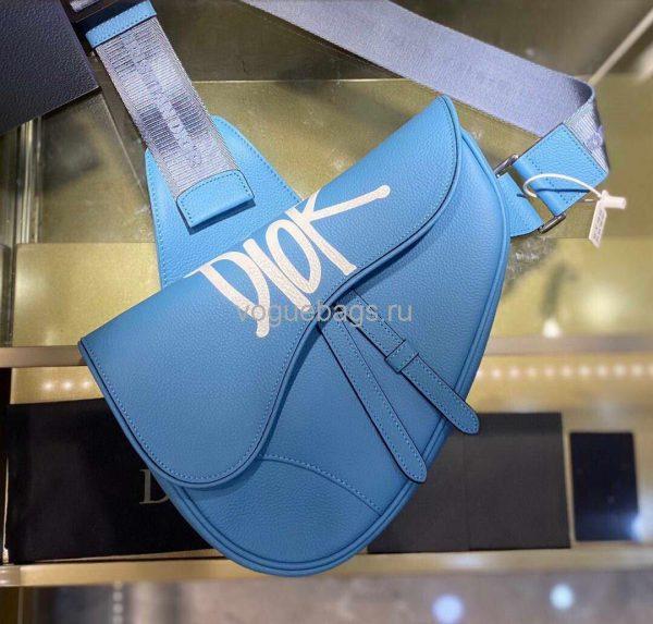 Dior M0446 Saddle Bag Dior Blue Calfskin Bag - Voguebags