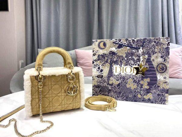 Dior M0505 Mini Lady Dior Bag Shearling Camel Colored - Voguebags