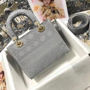 Dior M0565 Lady Dior Medium Tote Bag M950 Gray - Voguebags