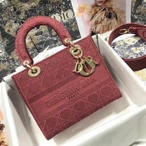 Dior M0565 Lady Dior Medium Tote Bag M950 Red - Voguebags