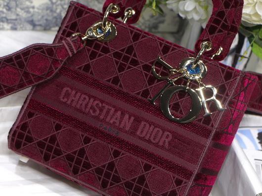 Dior M0565 Lady Dior Medium Tote Bag M950 Wine Red - Voguebags
