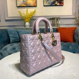 Dior M0566 Large Lady Dior Bag Silver Pink Cannage Lambskin - Voguebags