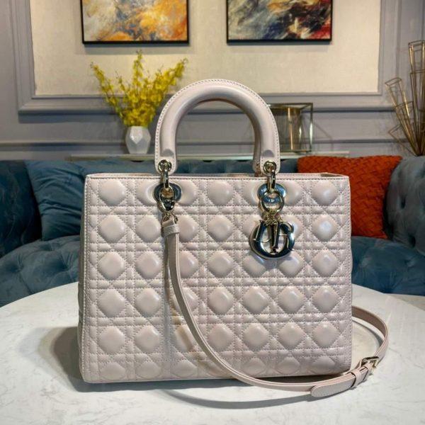 Dior M0566 Large Lady Dior Bag Beige Cannage Lambskin - Voguebags