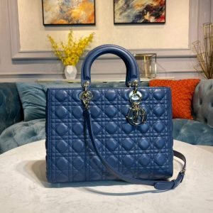 Dior M0566 Large Lady Dior Bag Blue Cannage Lambskin - Voguebags