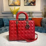 Dior M0566 Large Lady Dior Bag Red Cannage Lambskin - Voguebags