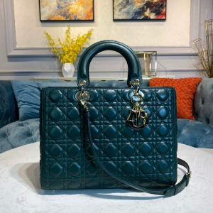 Dior M0566 Large Lady Dior Bag Dark Green Cannage Lambskin - Voguebags