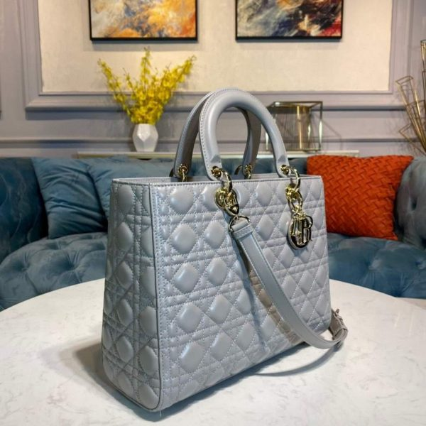 Dior M0566 Large Lady Dior Bag Gray Cannage Lambskin - Voguebags