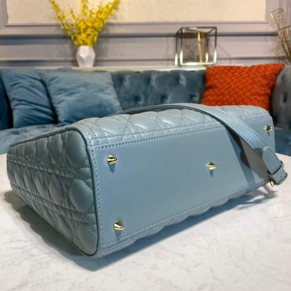 Dior M0566 Large Lady Dior Bag Lake Blue Cannage Lambskin - Voguebags