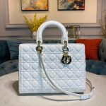 Dior M0566 Large Lady Dior Bag White Cannage Lambskin - Voguebags