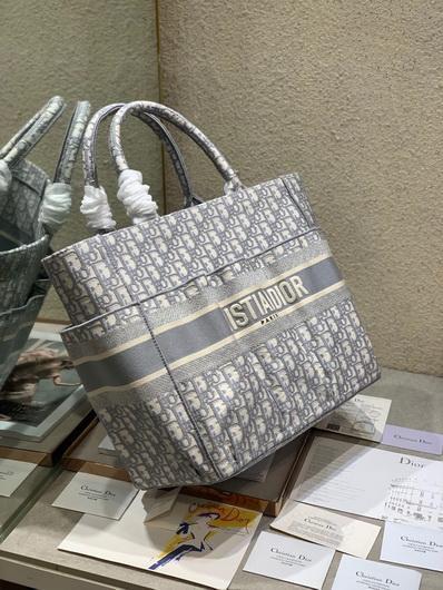 Dior M1279 Catherine Tote Bag Dior Oblique Embroidery Gray - luxibagsmall