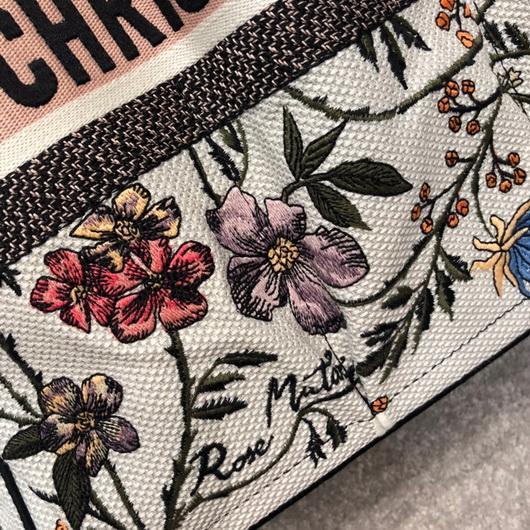 Dior M1279 Catherine Tote Bag Dior Oblique Embroidery Rosa Mutabilis - luxibagsmall