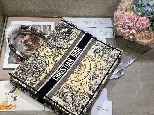 Dior M1286 Book Tote Christian Dior Shoulder Shopping Bag Black - luxibagsmall