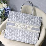 Dior M1286 Book Tote Christian Dior Shoulder Shopping Bag Gray - luxibagsmall