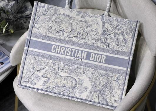 Dior M1286 Book Tote Christian Dior Shoulder Shopping Bag Lion Printer Gray - luxibagsmall