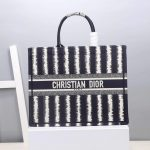 Dior M1286 Dior Book Tote Blue D-Stripes Embroidery - luxibagsmall