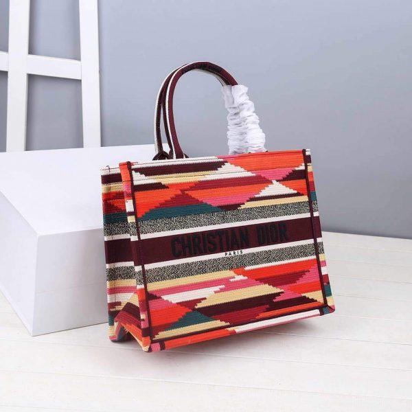 Dior M1286 DIOR Book Tote Multicolor D-Stripes Embroidery - luxibagsmall