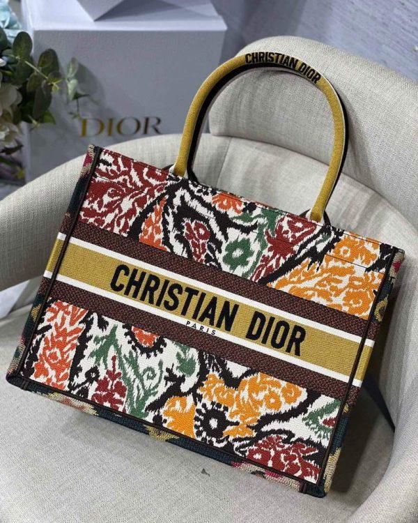 Dior M1286 Dior Book Tote Yellow Multicolor Dior Paisley Embroidery - luxibagsmall
