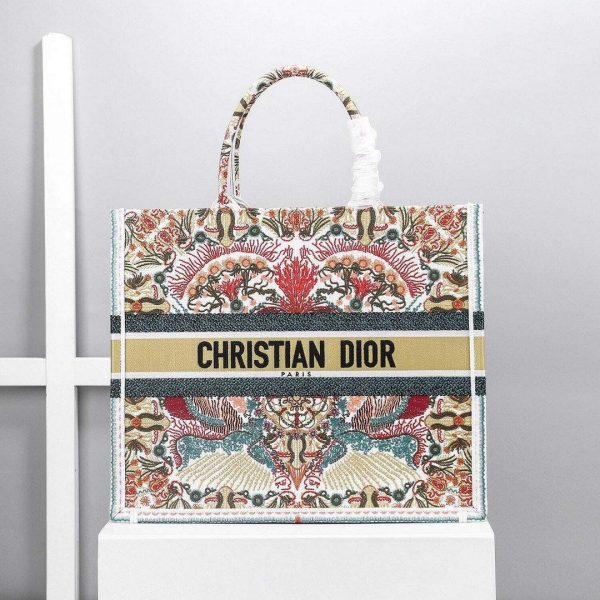 Dior M1286 Book Tote Christian Dior Multicolor Red and Green - Voguebags