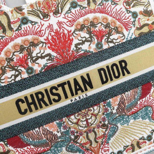 Dior M1296 Book Tote Christian Dior Small Multicolor Red and Green - Voguebags