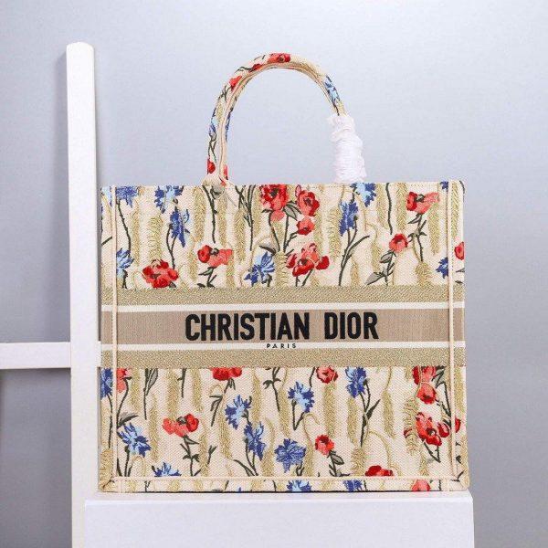 Dior M1296 Book Tote Christian Dior Small Beige Multicolork - Voguebags