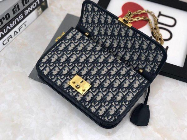 Dior M5818 Dioraddict Bag Burgundy Dior Oblique Jacquard Navy Blue - Voguebags