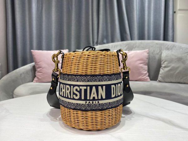 Dior M7600 Dior Wicker Basket Shoulder Bag Blue Oblique - luxibagsmall