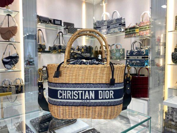 Dior M7601 Dior Wicker Basket Shoulder Bag Blue - luxibagsmall