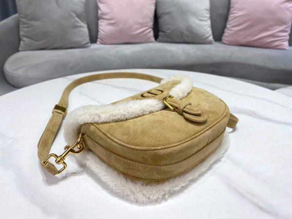 Dior M9319 Medium Dior Bobby Bag Camel Colored Shearling - Voguebags
