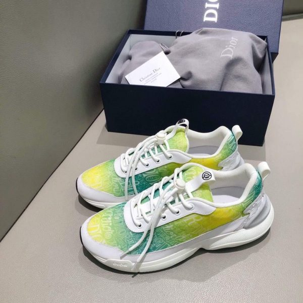 Dior 3SN248 Men's Women's B24 SNEAKER Dior Oblique Canvas Green and Yellow - luxibagsmall