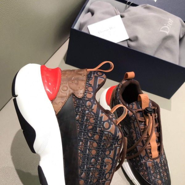 Dior Men's Women's D-CONNECT Sneaker Dior Printed Technical Fabric KCK302 Brown - luxibagsmall